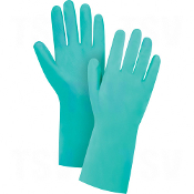 Cotton Flock-Lined Green Nitrile Gloves